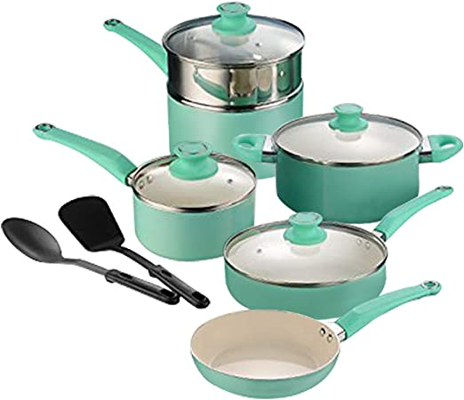 AMERICOOK 12 Piece Pots and Pans Set, White Ceramic Non-stick Coating Cookware Set for Cooking and Frying – Magic Mint Aluminum Kitchen Set of Pots and Pans with Vented Glass Lids and Kitchen Utensils