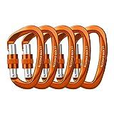 Locking Carabiner - 25kN 5600lb Climbing Carabiner Screw Gate D Shape Carabiner Orange (Pack of 5)