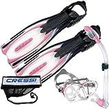 Cressi Reaction Scuba Diving Snorkeling Reaction Fins Evo Mask Semi-Dry Snork...