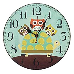AKAHA Quiet Wall Clock 12-Inch - Cute Cartoon Vintage Owl - Rustic Country Tuscan Style Decorative Round Wall Clock for Kitchen,Bedroom,Living Room,Kids Room(12 inch, Owl)