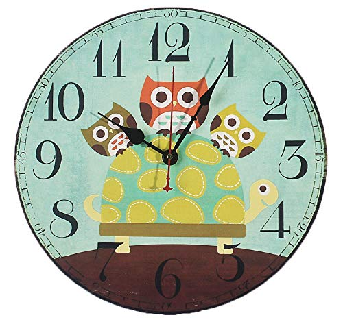 Cheap AKAHA Quiet Wall Clock 12-Inch – Cute Cartoon Vintage Owl – Rustic Country Tuscan Style Decorative Round Wall Clock Kitchen,Bedroom,Living Room,Kids Room(12 inch, Owl)