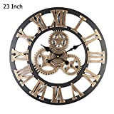 Vintage Gear Clocks Wooden Roman Numerals Large Round European Archaize Decorative Wall clock for Retro Style Living Room Office Bar Restaurant Decoration 23 Inch (Gold)