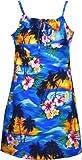 Pacific Legend Girls Brilliant Hawaiian Island Sunset Empire Spaghetti Sundress Blue 12