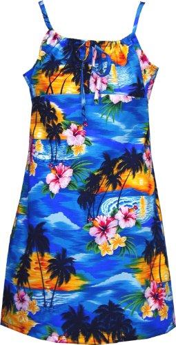 Pacific Legend Girls Brilliant Hawaiian Island Sunset Empire Spaghetti Sundress Blue 12 by Pacific Legend