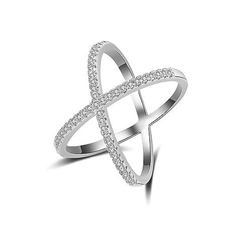 Oofayde Ring Anillos De Lujo De Los Anillos De Oro del Zircon De La Cruz Superior