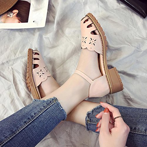 FEITONG Mujer Punto de punta bombas Sexy Tacones Delgados Del Aire Calzado Mujer Zapatos Sandalias Rosa