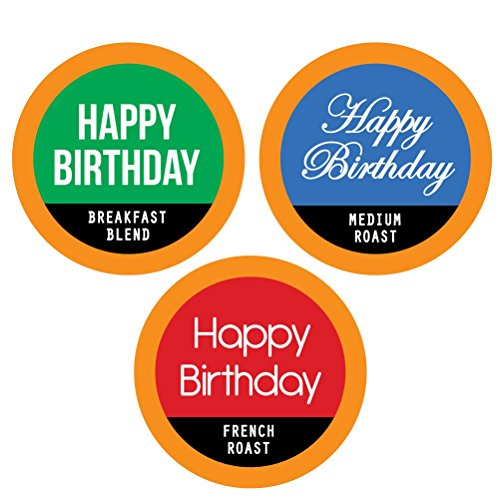 HAPPY BIRTHDAY Single Serve Coffee Variety K-Cups - 12 Cup Gift Box With 3 Gourmet Coffee Varieties. Makes A Great Birthday Gift For Coffee Lovers. (Coffee Gift Baskets Happy Birthday)