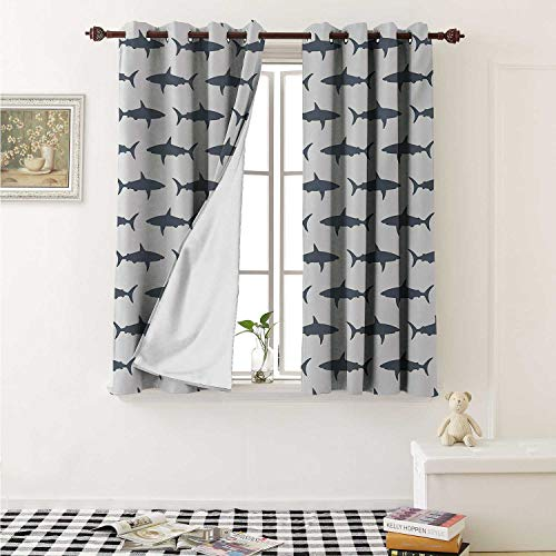 Flyerer Sea Animals Waterproof Window Curtain Sharks Swimming Horizontal Silhouettes Powerful Dangerous Wild Life Curtains Living Room W55 x L45 Inch Charcoal Grey White