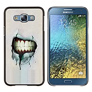 LECELL--Funda protectora / Cubierta / Piel For Samsung Galaxy E7 E700 -- Dientes Sonrisa Grunge --