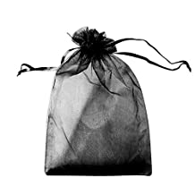 """VOBAGA 100 PCS Sheer Drawstring Bag 4"""" x 6"""" Gift Organza Jewelry Pouches Black Candy Sack For Christmas Wedding Party"""