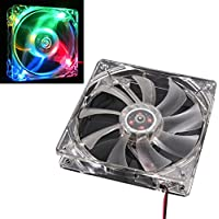 AMA(TM) Colorful Quad 4-LED Light Neon Clear PC Computer Case Cooling Fan Pad Tray Chilling Stand (Colorful 1)