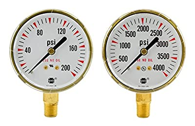 "2-1/2"" x 200 PSI & 4000 PSI Welding Regulator Repair Replacement Gauges Oxygen"