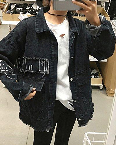 Nero Donna Capispalla Ragazze Giacca Autunno Lunga Jacket Primavera Rose Ricamo Denim Giubbino E Jeans Outerwear Minetom Manica Corto qRTpR