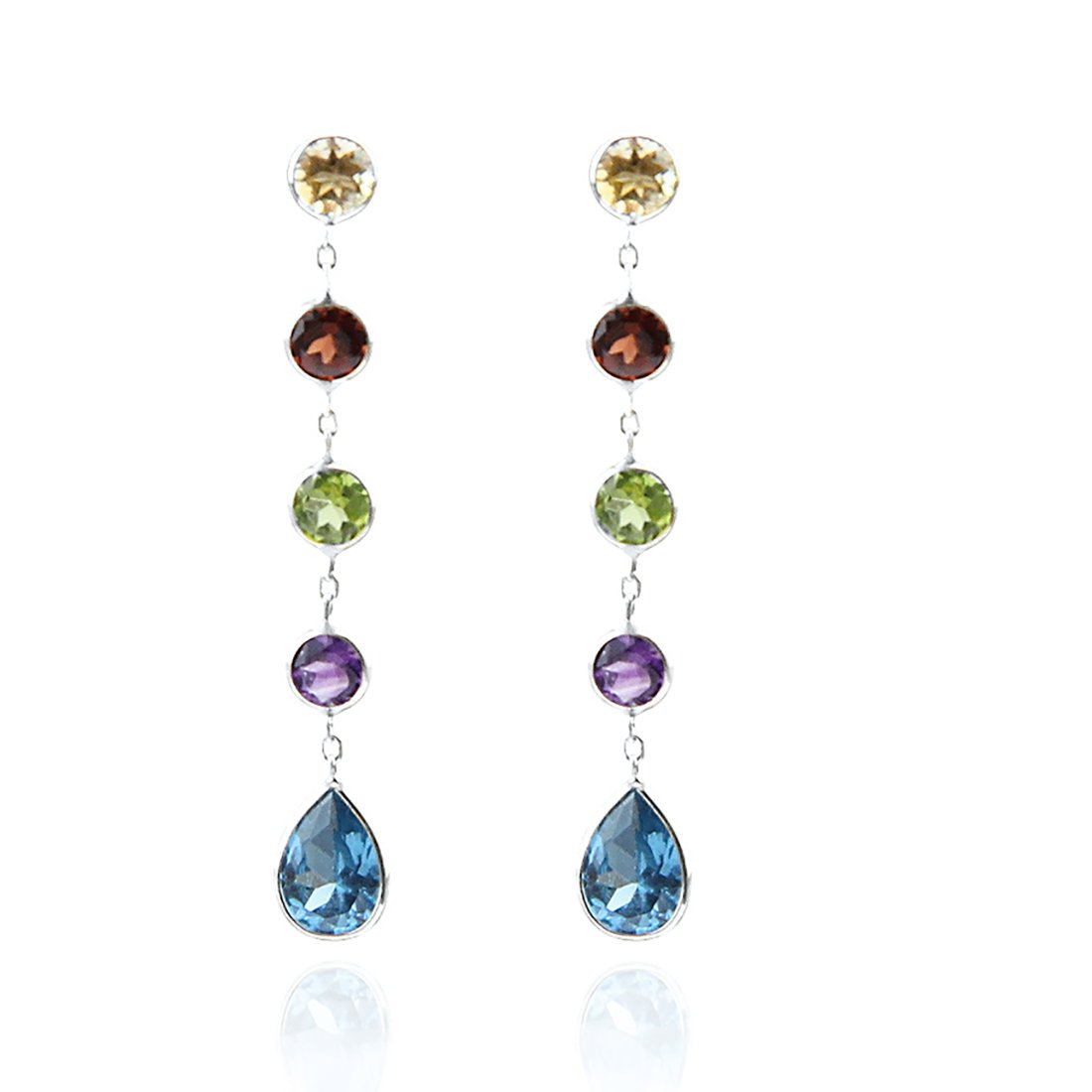 14k White Gold Drop Earrings with Round and Pear Shaped Gemstones