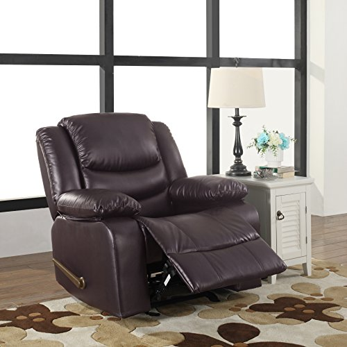 Brown Rocker Upholstered (Bonded Leather Rocker Recliner Living Room Chair (Brown))