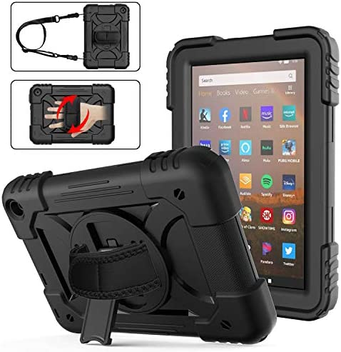 Fire HD 8 Case 2020 with Handle | AVAKOT Kindle Fire HD 8/HD 8 Plus Case with Hand Strap Shoulder Strap | Heavy Duty Shockproof Cover W/Swivel Stand for Amazon Fire HD 8 10th Generation | Black