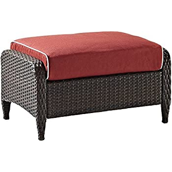 Crosley Furniture Kiawah Outdoor Wicker Ottoman With Sangria Cushions    Brown