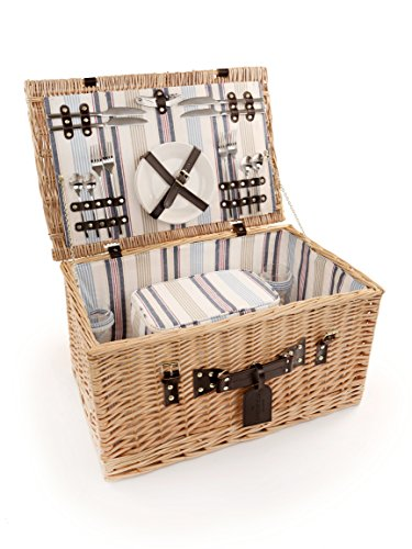 Greenfield Collection Ludlow Willow Picnic Hamper for Four People by Greenfield Collection