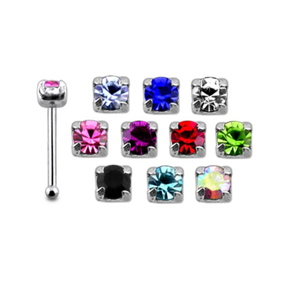 20 Pieces Mix Color Jeweled Claw Set Round 925 Sterling Silver Nose Pin Ball End 20Gx1/4 (0.8x6MM). Pack in Acrylic Box.