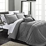 Chic Home 5-Piece Carina Pleated Handmade Technique Comforter Set, King, Charcoal