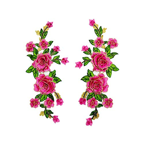 Fabric 3D Colorful Flower Lace Sewing Applique Patch Collar Applique DIY Craft Neckline Sewing Embroidery Patches Accessory for Cheongsam Clothes Dress 2 Pcs/lot (Pink)