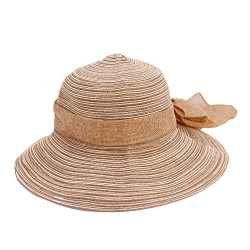 375083471d1cc Women s Big Bowknot Straw Hat Sun Hat Ladies Girls Large Brim Beach Hat  Floppy Foldable Roll