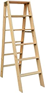 MJY Multipurposesolid Wood Double-Sided Ladder, Six-Step Ladder Wooden Ladder in Attic Outdoor Ladder Fully Insulated Safety Stepladders
