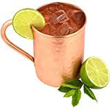 The Kicking Mule Authentic Handcrafted Moscow Mules Copper Mugs - 100% Pure 16oz Hammered Cup - Best Mug for Beer, Cocktails, Water and other Ice Cold Drinks