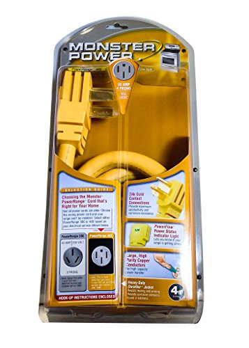 Monster MP PR400-4R PowerRange 400 - 50 Amp 4 Prong Power Cord for Electric (Stove Cords)