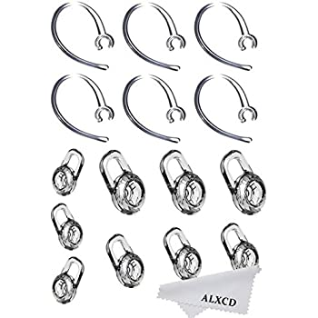 Small//Medium//Large Spare Replacement Set 9 PCS Clear Eargel Tips Earbud Gel /& Ear Hook for Plantronics Fit for Plantronics M155 M165 M1100 M100 M5 Large 3PC Clear Clamps 3 Pack Black Clamps