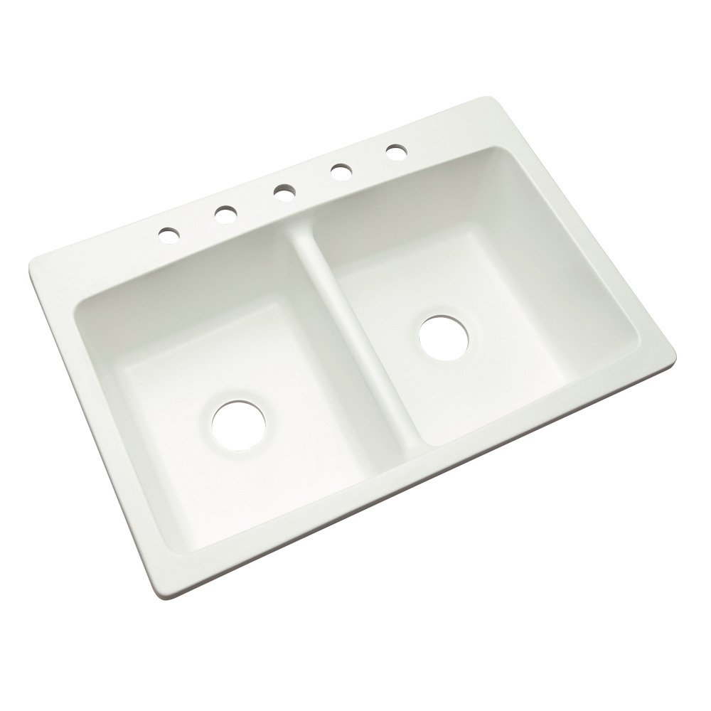 Dekor Sinks 60500NSC Woodbridge Composite Double Bowl Kitchen Sink with Five Holes, 33-Inch, White Natural Stone