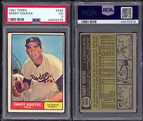 1961 Topps Regular (Baseball) Card# 344 Sandy Koufax (psa) of the Los Angeles Dodgers VG Condition