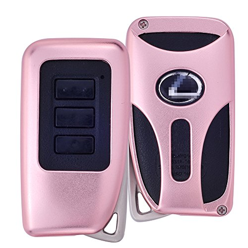 DAYJOY Premium Aluminum Car Key Shell Cover With Key Chain For LEXUS ES IS GS RC NX RX LS SERIES SERIES remote control Smart Key (ROSE - Gs Cover Series