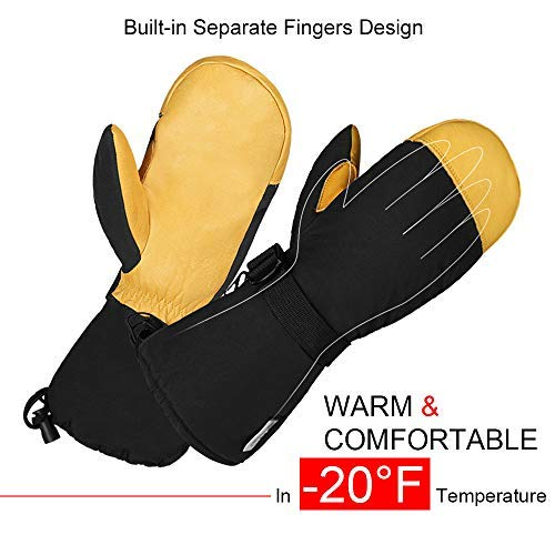 OZERO Winter Ski Snow Gloves Mitten Windproof Work Glove Cowhide Leather Palm Water Resistant for Skiing/Snowmobile/Shovel