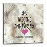 3dRose dpp_154429_2 2nd Wedding Anniversary Gift Cotton Celebrating 2 Years Together Second Anniversaries Two Yrs Wall Clock, 13 by 13-Inch