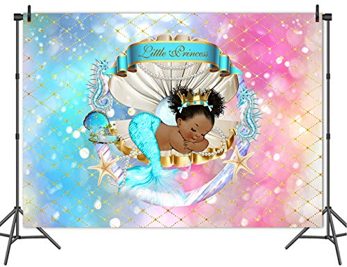 Mehofoto Royal Mermaid Princess Backdrop Under Sea Glitter Shell Crown Background 7x5ft Vinyl Black Girl Backdrops Banner for Baby Shower, Birthday Party -