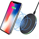 Wireless Charger, 7.5W Wireless Charger for iPhone X/8/8 Plus, 10W Fast Wireless Charging for Samsung Galaxy S8/S8plus/S7/S7 Edge/S6 Edge Plus/Note 5, 5W for All Qi-Enabled Phones(No AC Adapter)