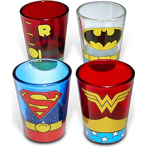 DC Comics Superheroes Uniform 4-Pack Shot Glasses -