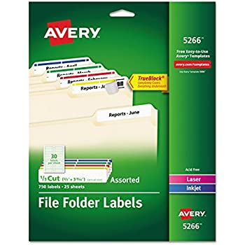 Amazon avery extra large file folder labels in assorted colors avery file folder labels in assorted colors for laser and inkjet printers with trueblock technology 067 x 343 inches pack of 750 5266packaging may saigontimesfo