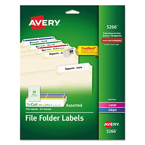 Avery File Folder Labels in Assorted Colors for Laser and Inkjet Printers with TrueBlock Technology, 0.67 x 3.43 Inches, Pack of 750 (5266)(Packaging May - File Labels Folder