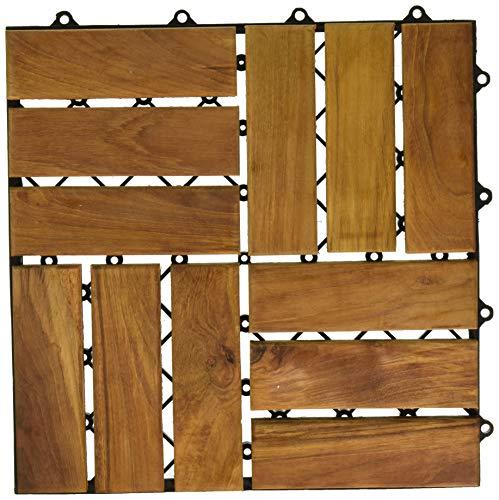 Bare Decor 12 Slat EZ Teak Flooring, Brown
