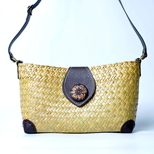 Women handwoven bamboo handbag bag cross body purse leather strap - made of natural Krajood plant handmade