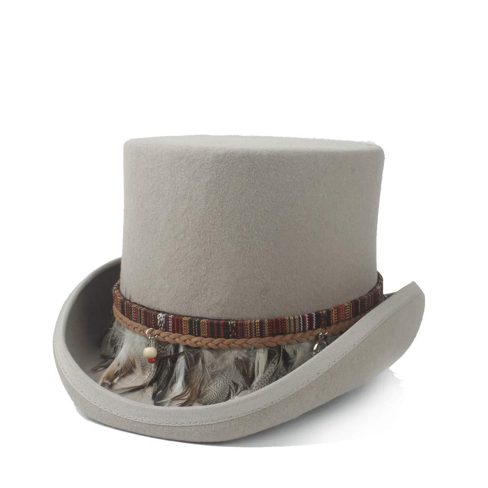 LL Steampunk Top Hat 100% Wool Women Men Crazy Hat Color Braided Feather Tassel Gentleman Hat Traditional Flat Top Hat (Color : Gray, Size : 59CM)