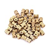 Insert Embedded Nuts, 50pcs M3 Brass Cylinder Knurled Round Molded-in Insert Embedded Nuts(4#)