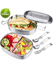 Comfook Stainless Steel Lunch Box Metal Food Container Snack Box 2 Tier 3-Compartment Bento Boxes for Kids Men Women School/Work/Picnic