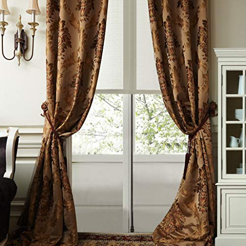 (IYUEGO Luxury European Style Jacquard Silky Heavy Fabric Grommet Top Lining Blackout Curtains Drapes with Multi Size Custom 84