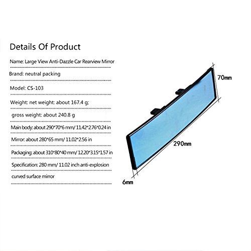 Specchietto retrovisore convesso grandangolo specchietto retrovisore universale curve 29/cm clip on Rearview antiriflesso blu specchio panoramico per SUV//Truck//Car