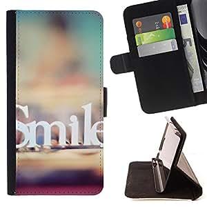 Devil Case- Estilo PU billetera de cuero del soporte del tir¨®n [solapa de cierre] Cubierta FOR Samsung Galaxy S6 Edge G9250 G925F- Smile Funny Pattern Retro