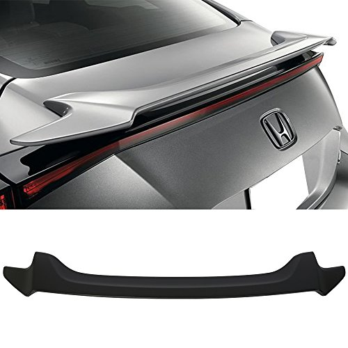 Trunk Spoiler Fits 2016-2018 Honda Civic | Factory Style Unpainted Black ABS Trunk Boot Lip Rear Spoiler Wing Deck Lid By IKON MOTORSPORTS | -