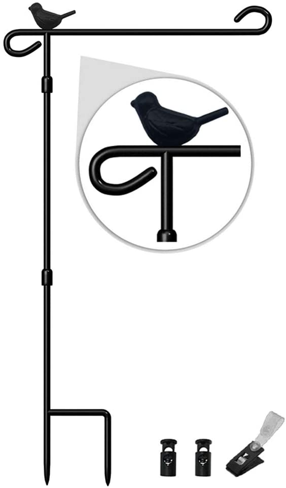 Garden Flag Stand with Bird, Premium Garden Flag Pole Holder Metal Anti-Rust Weather-Proof with one Tiger Clip and two Spring Stoppers No Flag Included